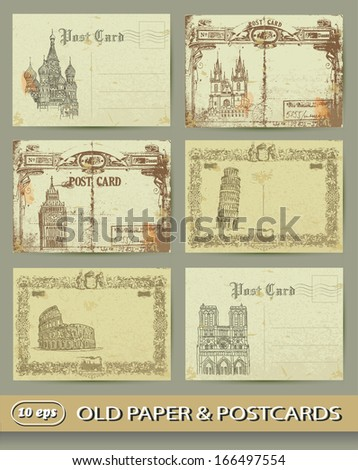 collection of old postcards, european cities, old paper - stock vector