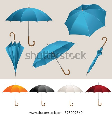 Collection of opened, folded, top view vector blue umbrellas  - stock vector
