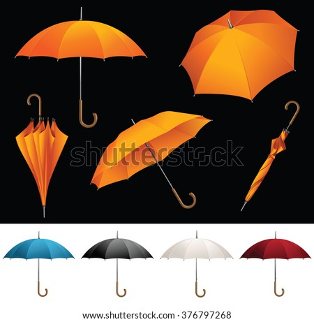 Collection of opened, folded, top view vector orange umbrellas - stock vector