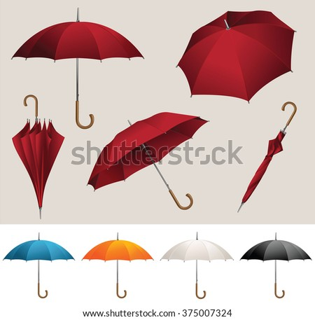 Collection of opened, folded, top view vector red umbrellas  - stock vector