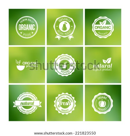 Collection of organic badges on a blurred background - stock vector