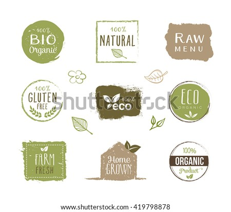 Collection of organic food labels, stickers and design elements. Can be used on product packaging, restaurant menus, banners, signs or any other graphic materials.