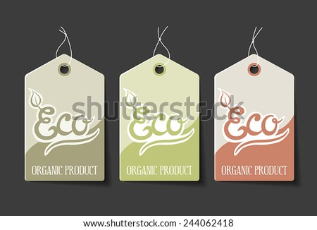 Collection of organic sales labels. - stock vector
