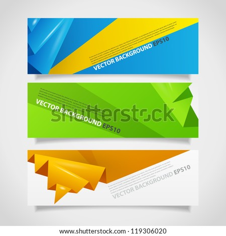 Collection of origami abstract banners with place for text. Image contains transparent lights and shadows. 10 EPS - stock vector