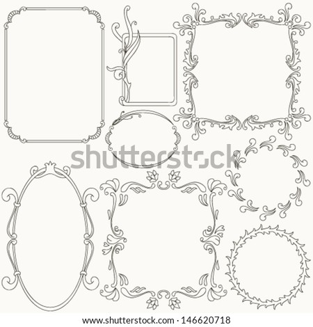 Collection of ornamental frames - stock vector