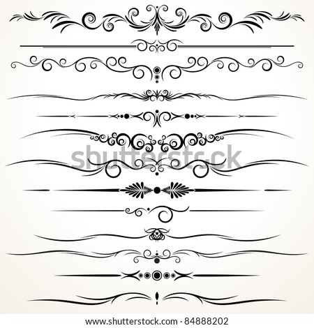 Collection of Ornamental Rule Lines in Different Design styles - stock vector