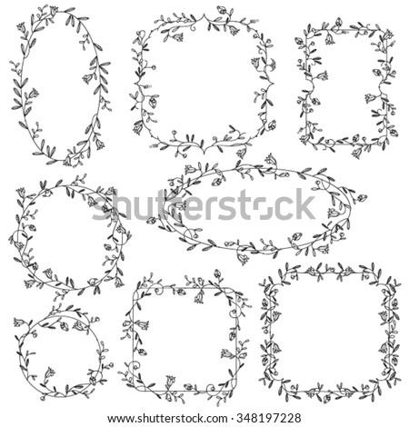 Collection of ornamental vector floral frames  - stock vector