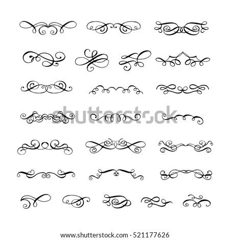 Collection ornate filigree swirls flourish decorative stock vector collection of ornate filigree swirls flourish decorative border vintage frame elements wedding stopboris Image collections