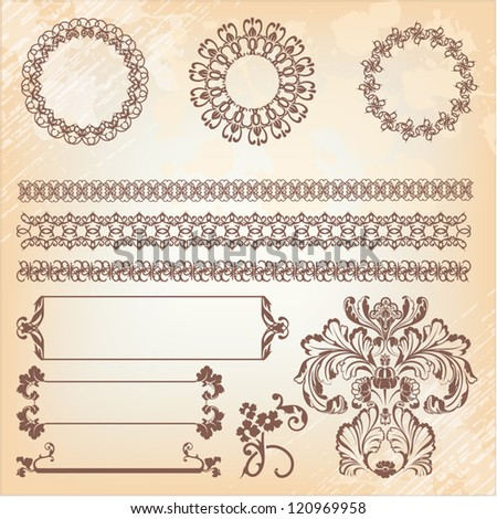 collection of ornate page decor elements: borders, banner, dividers, ornaments and patterns - stock vector