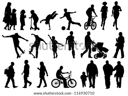 Collection of Outdoors and Active People - stock vector