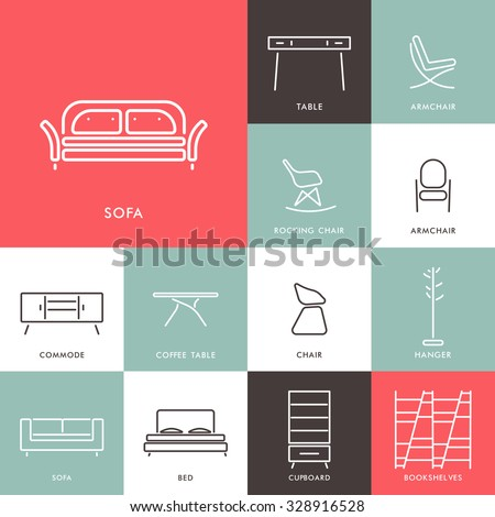 Collection of outline modern furniture symbols and icon. Elements of interior. Template for design Cover, Invitations, Brochure, Signs, Logos, Elements, Labels, Catalog.Vector illustration. Isolated - stock vector