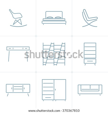 Collection of outline modern furniture symbols and icon. Elements of interior. Template for design. Vector illustration. Isolated - stock vector