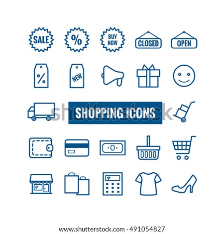 Collection of outline shopping icons. Thin icons for web, print, mobile apps