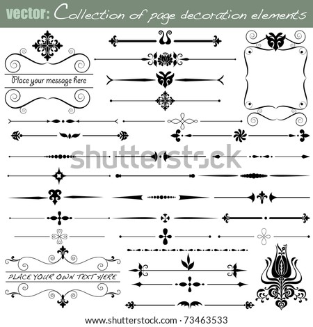 Collection of Page Decoration and Calligraphic Design Elements for your Design. VECTOR {Set No.1}