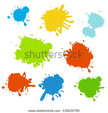 Collection of paint splash. Vector set of brush strokes. Isolated on white background - stock vector