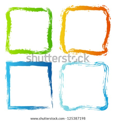 Collection of painted borders. Vector set of grunge borders. Isolated on white background - stock vector