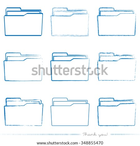 Collection of painted folder vectors with different tools like brushes, chalk, ink, pen. Blue grungy folder icons isolated on white background. - stock vector