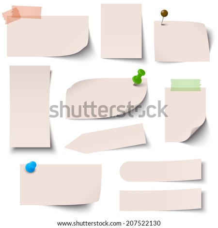 Collection of paper notes brown - stock vector