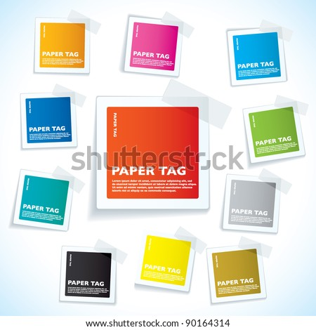 Collection of paper notes with copy space for text - stock vector