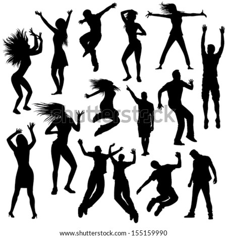 collection of party people silhouettes - stock vector