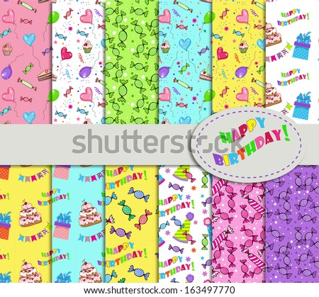 collection of patterns for holidays, birthdays and parties - stock vector