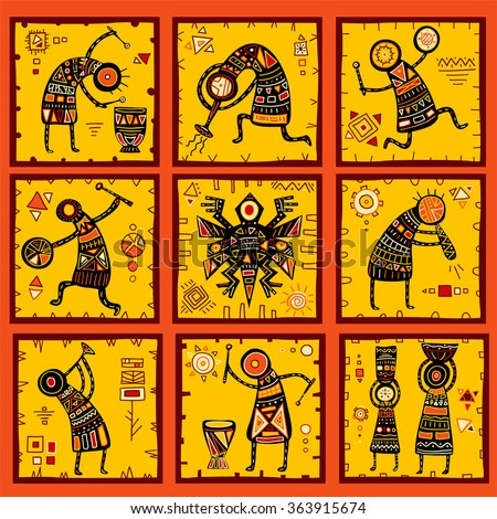 Collection of 9 patterns with African ethnic patterns of yellow, orange, black and red color - stock vector