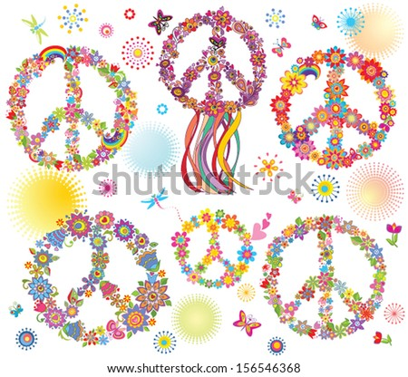 Collection of Peace flower symbol - stock vector