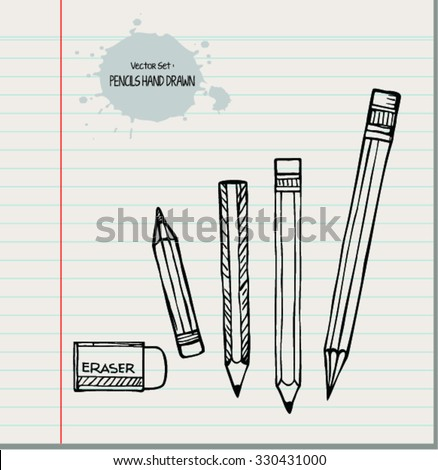 Collection of pencils. vector set in doodle style - stock vector
