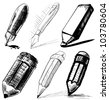 Collection of pens and pencils.Sketch vector set in doodle style - stock vector