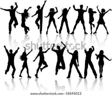 Collection of people dancing - stock vector