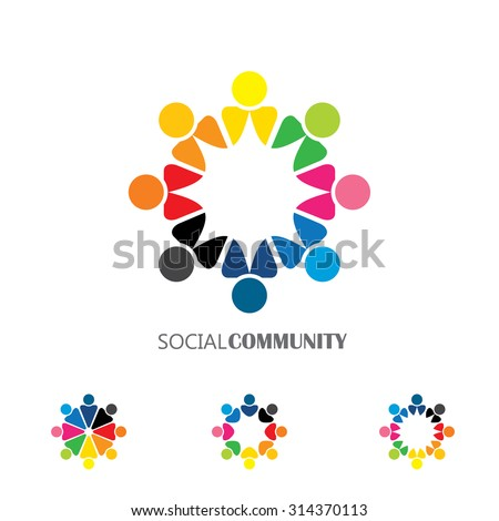 Collection People Icons Circle Vector Concept Stock Vector Royalty