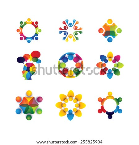 collection of people icons in circle - vector concept unity, solidarity. this also represents social media community, leader & leadership, togetherness, friendship, play group, fun & happiness - stock vector