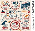Collection of Pet Hair Salon and Store Badges in Vintage Style. Vector Design Elements - stock vector