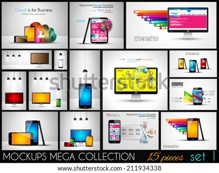 Collection of phone, pc and tablet mockups with infographics. A lot od design elements to classify products and generic items. - stock vector