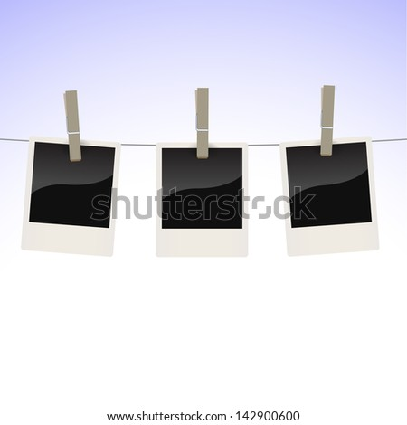 Collection of photos hanging on a clothesline, fix by pegs - stock vector