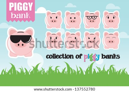 Collection of piggy banks with different face expressions and attitudes - stock vector