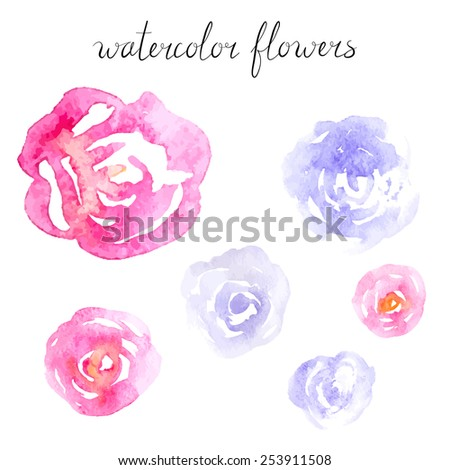 Collection of Pink and Lilac Watercolor Roses - stock vector