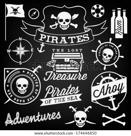 Collection of Pirate Design Elements in Vintage Style. Vector Illustration - stock vector