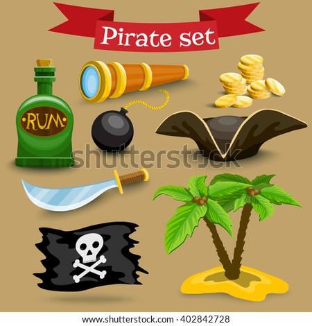 Collection of pirate illustrations. Set with pirate hat, coins and other pirate simbols - stock vector
