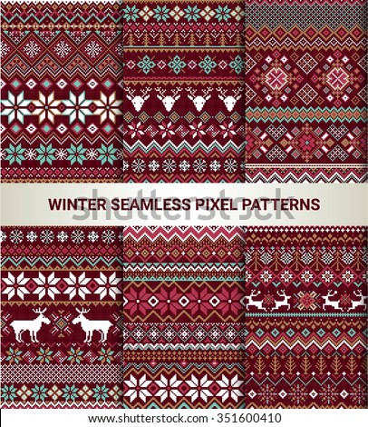 Collection of pixel bright seamless patterns with stylized winter Nordic ornament. Vector illustration. - stock vector