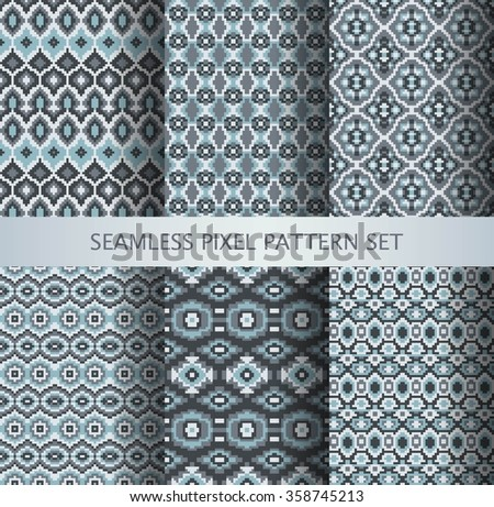 Collection of pixel gray seamless patterns with stylized Greenland national ornament. Vector illustration.