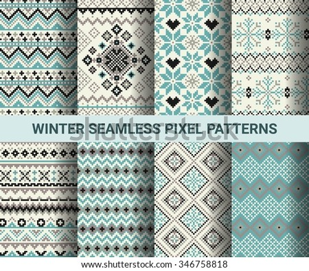 Collection of pixel retro seamless patterns with stylized winter Nordic ornament. Vector illustration. - stock vector