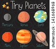 Collection of planet stickers form Mercury to Saturn. Cartoon planet icons. Kid's elements for scrap-booking. Childish background. Hand drawn vector illustration. - stock photo