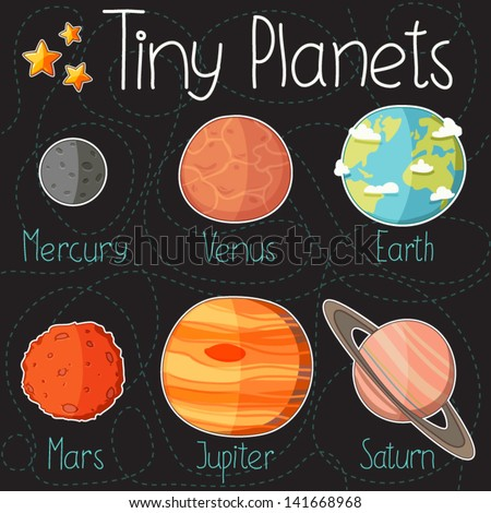 Collection of planet stickers form Mercury to Saturn. Cartoon planet icons. Kid's elements for scrap-booking. Childish background. Hand drawn vector illustration. - stock vector