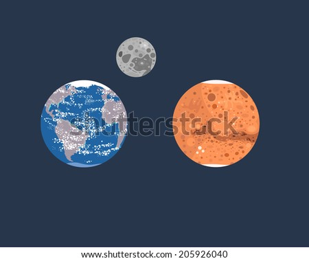 Collection of planets: Earth, Moon and Mars - stock vector