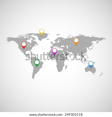 Collection of pointers with world map - stock vector