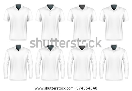 Collection of polo shirts with different polo-collars. Vector illustration. Fully editable handmade mesh. - stock vector