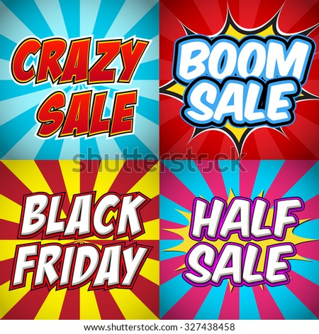 Collection of pop art retro comic sale discount promotion banners.  - stock vector