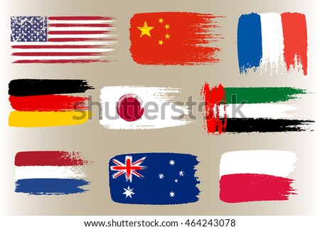 Collection of popular world flags, brush strokes painted flags, vector illustration.