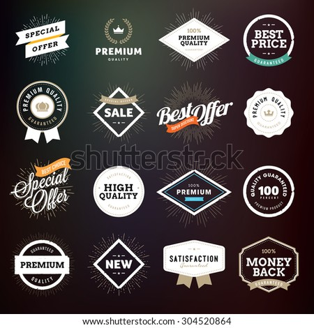 Collection of premium quality badges and labels for e-commerce, product promotion, advertising, sell products, discounts, sale, clearance, the mark of quality.     - stock vector